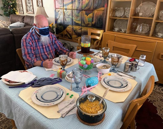 Easter dinner during coronavirus. First, it's hard to eat wearing a face mask. Secondly, due to social distancing, it's one at a time.