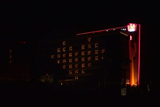 Light emits from 33 windows of the FireKeepers Casino Hotel into the shape of a heart on Monday, April 13, 2020 in Battle Creek, Mich. FireKeepers CEO Kathy George called the display a beacon of thanks to medical professionals and first responders who are providing necessities of life.