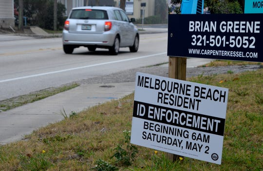 """This fake Melbourne Beach """"ID enforcement"""" sign appeared Tuesday morning on State Road A1A just north of Ocean Avenue."""