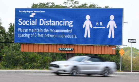 A billboard on U.S. 1 in Rockledge by Rockledge Regional Medical Center during COVID-19 precautions.