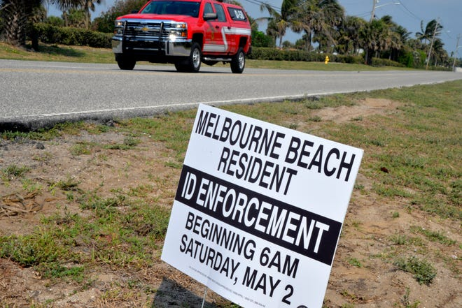 "This fake Melbourne Beach ""ID enforcement"" sign appeared Monday morning on Oak Street just south of Gemini Elementary."