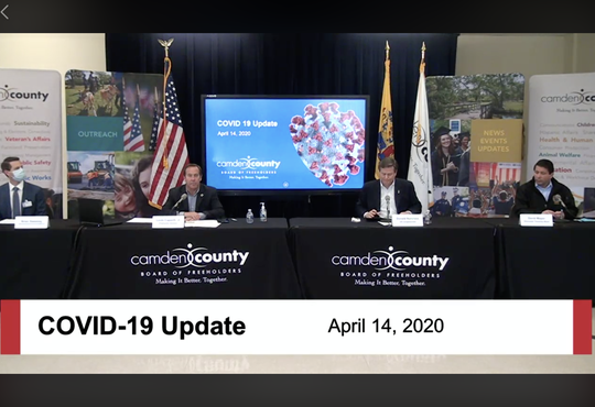 A screen shot shows a virtual update presented by Camden County on the current COVID-19 crisis. Jefferson Health New Jersey interim president Brian Sweeney (left to right), Camden County Freeholder Director Lou Cappelli, U.S. Rep. Donald Norcross and Gloucester Township Mayor Dave Mayer spoke at the news conference.