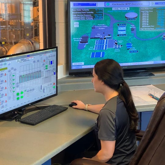 Clarksville Gas & Water's Michelle Klein works at the water treatment plant, where employees are staying to ensure it keeps going during the coronavirus outbreak.