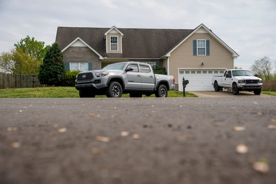 Photographs show the corner of a neighborhood where a welfare check by police resulted in the finding of two deceased residents at the Claystone Ct. cul-de-sac in Clarksville, Tenn., on Tuesday, April 14, 2020.