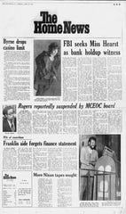 The April 16, 1974 edition of The Home News, showing Patricia Hearst participating in The Hibernia Bank robbery in San Francisco on April 15, 1974.