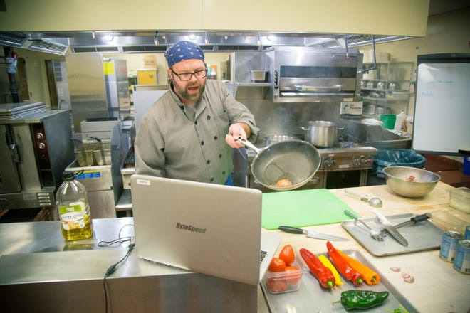 Chef Mike Cichon of the Coshocton County Career Center does a live cooking demonstration for students of the culinary arts program. Due to school being out due to the COVID-19 pandemic, instructors at the vocational school are still working with students remotely on theory and other elements of their given fields of study.
