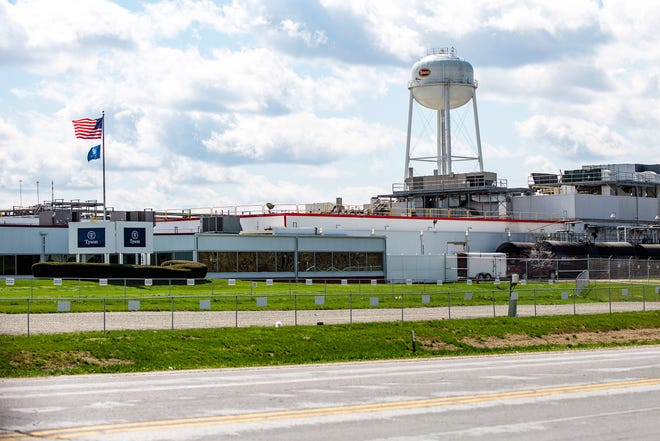 A Tyson Foods processing plant is seen, Tuesday, April 14, 2020, in Columbus Junction, Iowa.