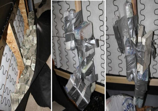 Investigators who raided an apartment in Baltimore, Md., found more than 14 kilograms of cocaine, more than three kilograms of fentanyl, 90 grams of heroin and almost $140,000 hidden inside two couches.