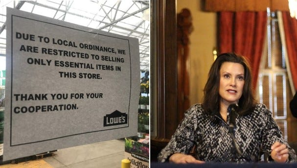 Gov. Gretchen Whitmer's latest stay-at-home order is drawing increasing criticism from Republicans who see it as too restrictive. At left is a photo from inside a Lowe's store in Lansing.