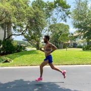 Aubrey Aldy of Naples was one of nearly 350 participants in the Wellfit Girls Virtual Hop to the Top 5K on April 11. Runners ran on their own time and could walk or run indoor or outdoors as running organizations have had to hold virtual races due to COVID-19.