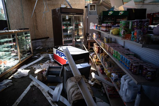 The interior of Walnut Street Grocery Store, commonly known as Blake's Tuesday, April 14, 2020, whose roof was destroyed after an EF3 tornado with 160 mph winds touched down early Monday.