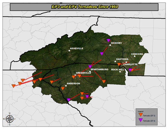 This National Weather Service graphic shows a map of EF3 and EF4 tornadoes since 1950 in Upstate South Carolina, Western North Carolina and Northeast Georgia.