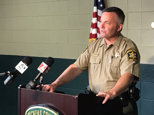 Pickens County Sheriff Rick Clark addresses reporters following the homicide of Margaret Alice Karr.