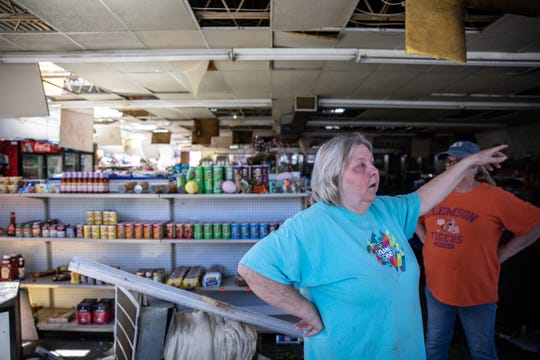 Dot Smith, who owns Walnut Street Grocery Store, commonly known as Blake's, with her husband Chris Smith, talks Tuesday, April 14, 2020, about the EF3 tornado which destroyed their store when it touched down early Monday.