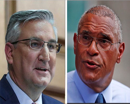 Republican Gov. Eric Holcomb and Democratic challenger Woody Myers are the major party candidates for Indiana governor in 2020.