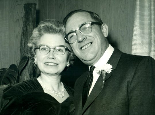 Freida Diemond, of Ithaca, with her late husband Cliff Diemond. After Cliff died, Freida worked at Ithaca Gun for many years.