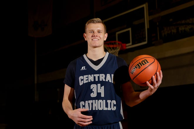 Central Catholic's Carson Barrett is the 2020 Journal & Courier Small School Boys Basketball Player of the Year.