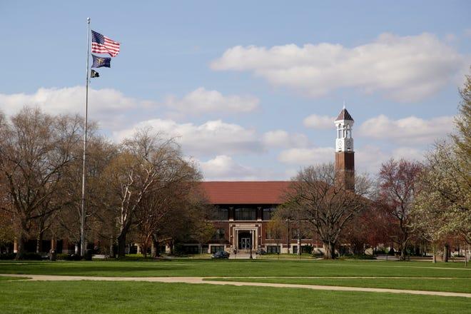 Purdue University's Memorial Mall sits empty, Monday, April 13, 2020 in West Lafayette.