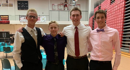 (From left) Mitch Dickey, Erik Bolang, Wes Richards and Tyler Ray formed strong relay teams for Pinckney.