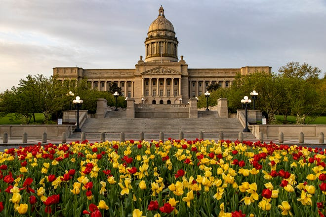 Tulips bloom outside the Capitol Building in Frankfort on Tuesday morning. April 14, 2020