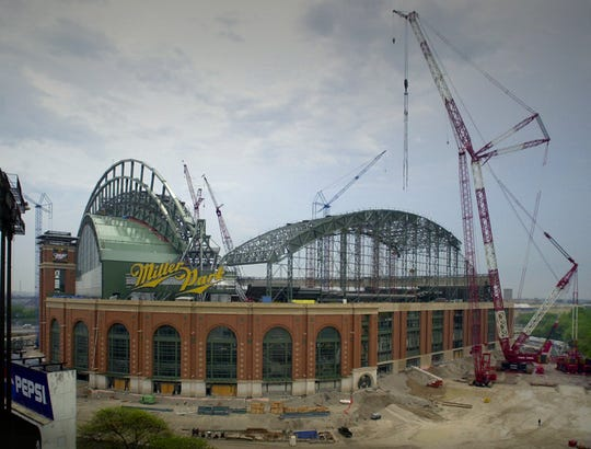 Miller Park is shown under construction on May 11, 2000.