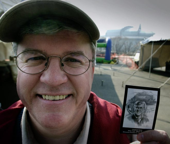 Former Senator George Petak, whose vote helped clear the way to create Miller Park, celebrates at a tailgate party before the first exhibition game, game at Miller Park on March 30, 2001.