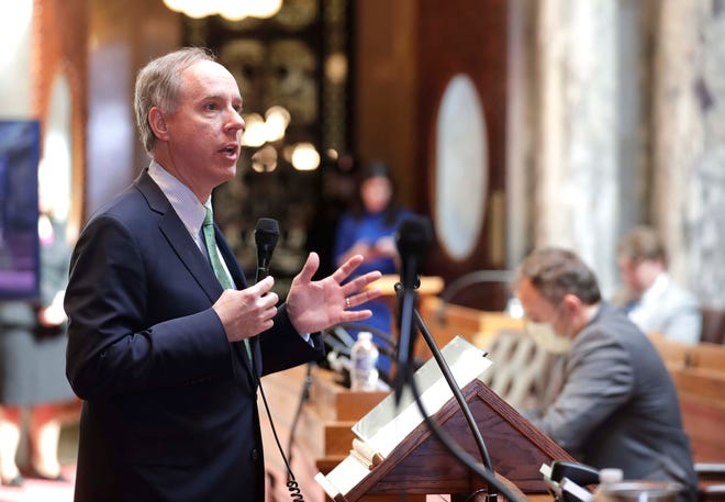 Assembly Speaker Robin Vos explains proposed legislation Tuesday as the Assembly meets to vote on a bill that would give the unemployed more benefits, provide insurance protections for those infected with coronavirus and shield health care providers from liability.