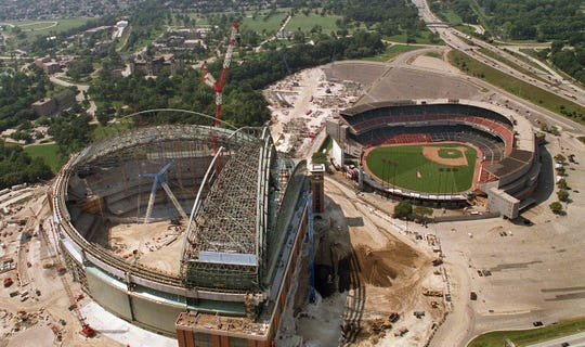 From above, Miller Park is shown under construction on Sept. 1, 2000, adjacent to Milwaukee County Stadium.