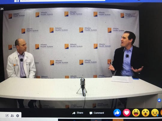 Dr. Jason Kessler, left, Section Chief of Infectious Disease at Atlantic Health System's Morristown Medical Center, speaks with host Jason Margolis during a Facebook Live community conversation about the coronavirus pandemic. April 14, 2020.