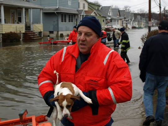 Michael Burke of the Little Falls Fire Department rescuing a dog during a flood on March 15, 2010.