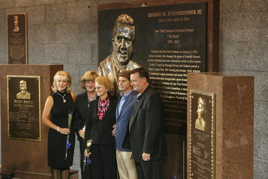 Dedication of the George Steinbrennerv Monument in Monument Park at Yankee Stadium. The Steinbrenner family in front of the plaque.  Jennifer Steinbrenner Swindal and Jessica Steinbrenner, his daughters, his wife Joan and sons Hal and Hank in September 2010.