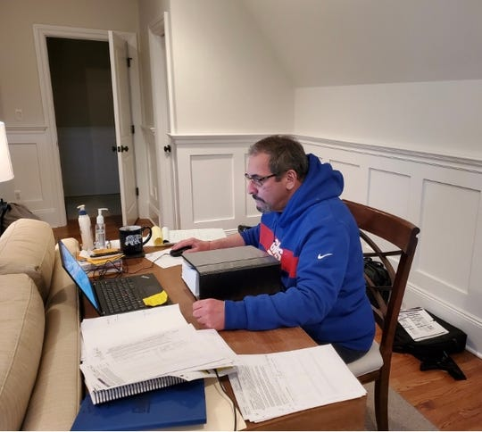 NY Giants general manager Dave Gettleman working from his New Jersey home during the coronavirus pandemic.