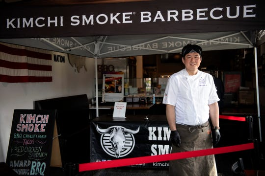 Robert Austin Cho, owner of Kimchi Smoke Barbecue in Westwood on Tuesday, April 14, 2020.