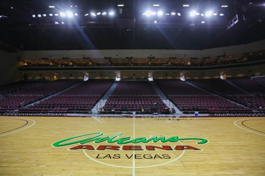 The Orleans Arena sits empty after the WAC tournament cancelation due to coronavirus concerns in Las Vegas, Nevada on Thursday, March 12, 2020.