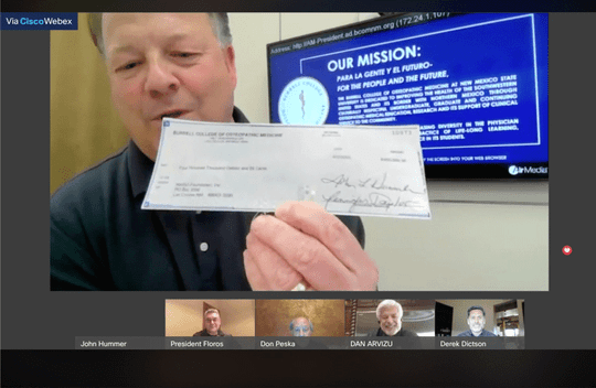 On Monday, April 13, theBurrell College of Osteopathic Medicine hosted a virtual check presentation to celebrate a $400,000 gift to New Mexico State University.