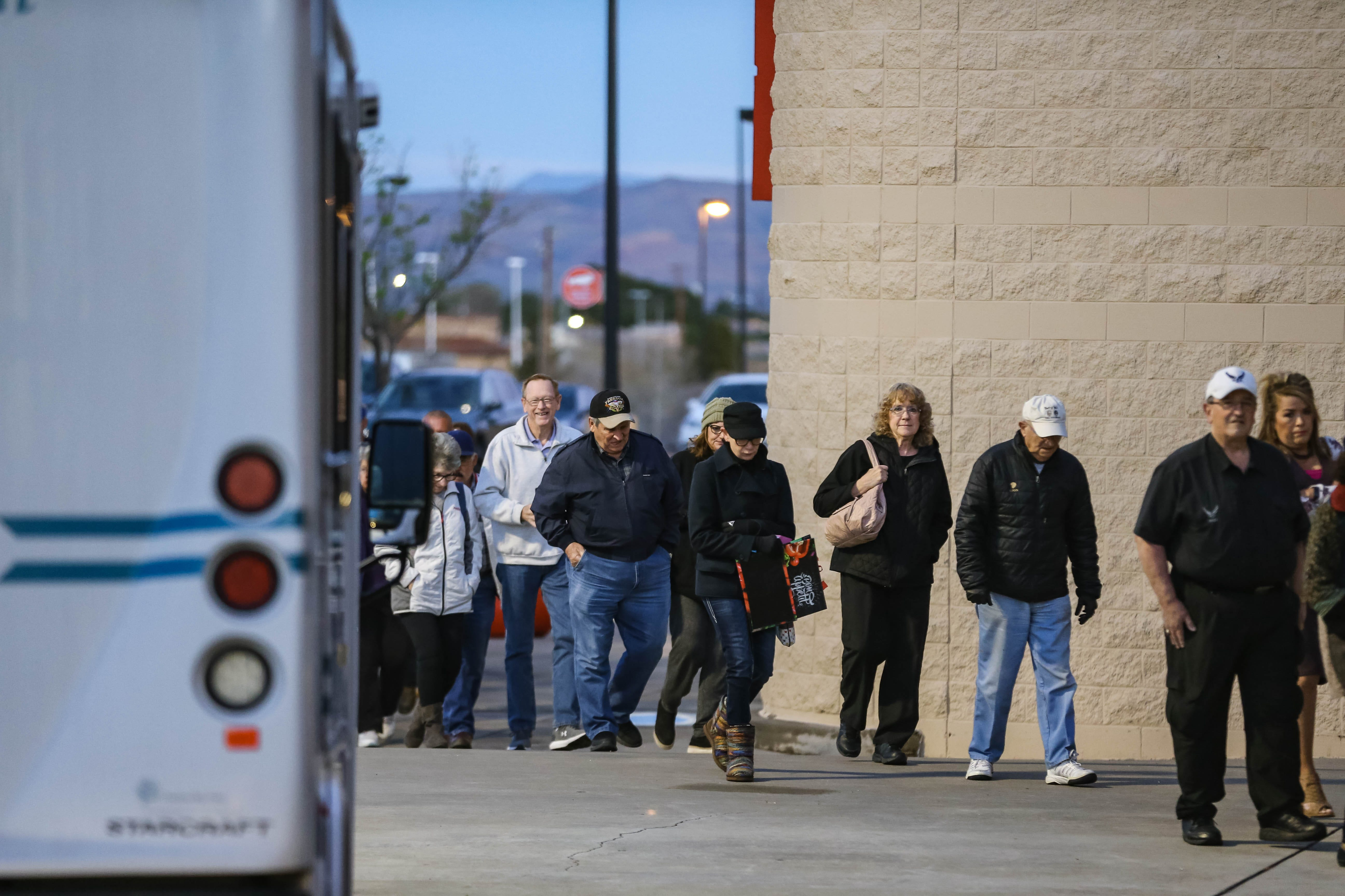 Dozens wait to shop at special early hours dedicated to senior citizens and other at-risk populations at Albertsons on Lohman in Las Cruces on Thursday, March 19, 2020.