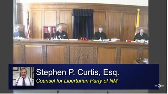 A screenshot of a New Mexico Supreme Court hearing conducted by video conference on Tuesday, April 14, 2020, as justices heard argument on behalf of the Libertarian Party of New Mexico by attorney Stephen P. Curtis.