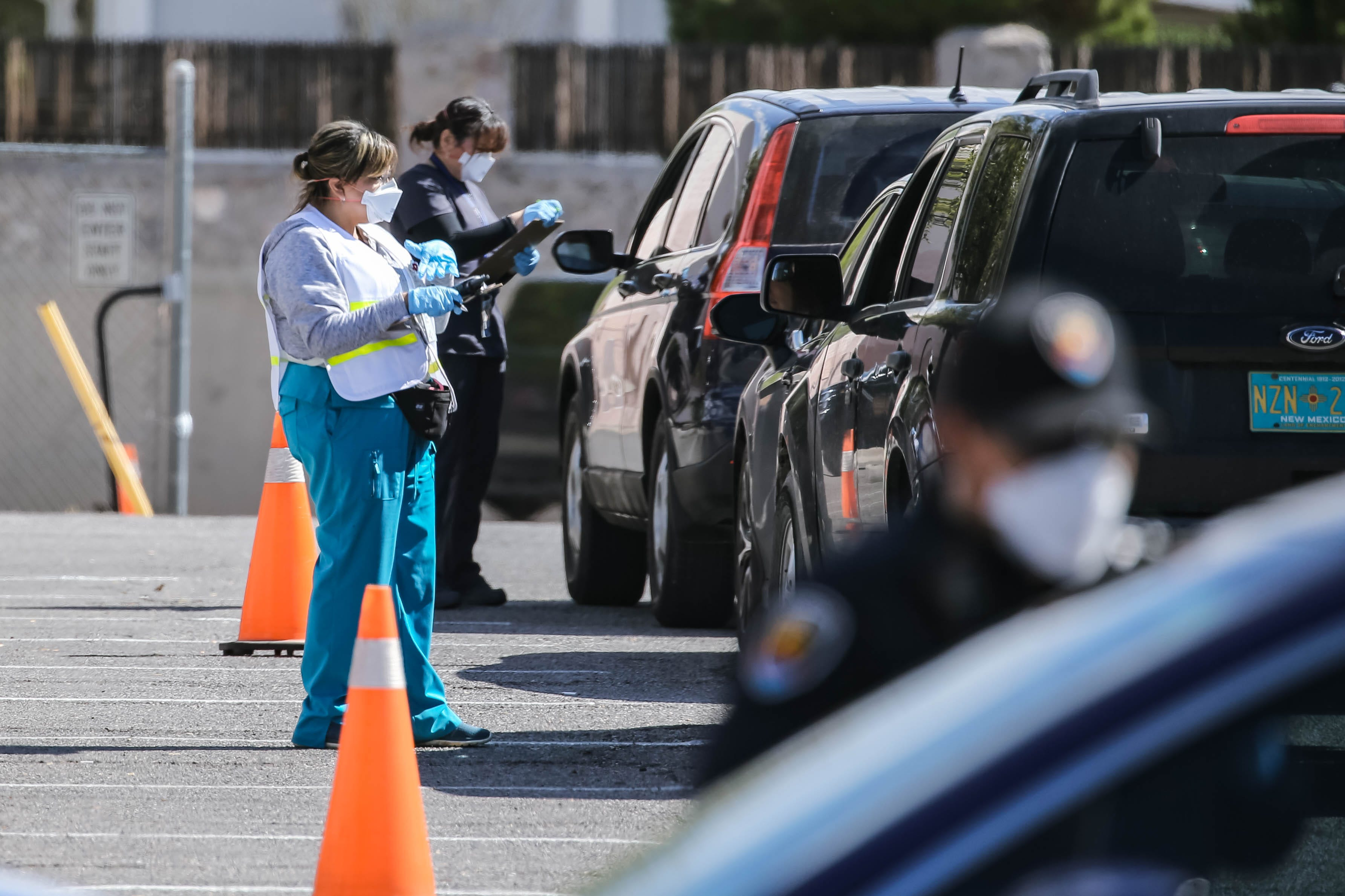 Drive-thru coronavirus testing was set up in Las Cruces at the Doña Ana County Health Services Center, scheduled from on Friday, March 20, 2020, from 9 a.m. to 3 p.m. or until supplies ran out. After closing at around 11:15 a.m. a line of cars waiting were signaled to move on.
