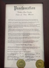 A proclamation given to Canaan Bower, from the Dona Ana County Commission, Tuesday April 14, 2020, in honor of his act of bravery in stopping a kidnapping at a gas station on March 25, 2020.