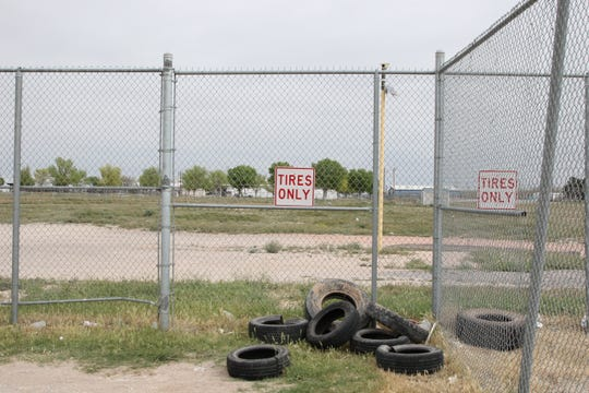 Used tires wait to be picked up at the Eddy County Artesia Fairground Convenience Station on April 14, 2020.