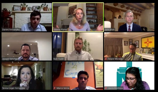 A screenshot of a Zoom meeting shows Taos County Democratic Party Chairman Darien Fernandez moderating a roundtable, Monday, April 13, 2020, featuring the seven Third Congressional District candidates. Lt. Gov. Howie Morales also participates in event.