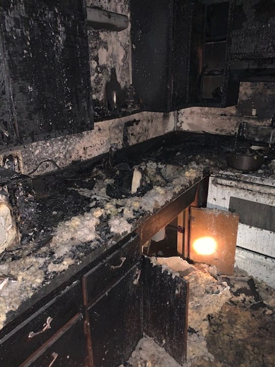 South Lyon firefighters responded to an apartment fire on Monday, April 13, 2020.