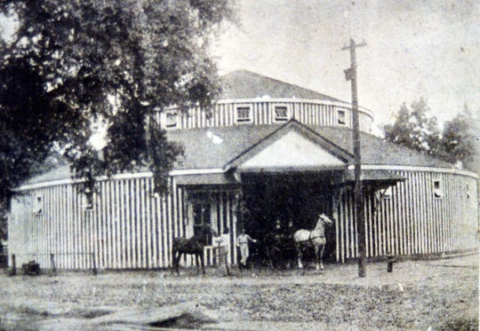 Mrs. J. Landau near the Round Stable in about 1905.