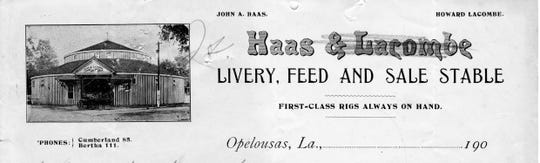 Invoice for Haas & Lacombe partnership business that was located in the Round Stable from about 1906-1909.