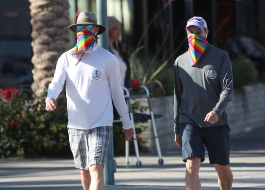 Men walk with their faces covered in downtown Palm Springs, April 13, 2020.