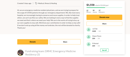 Desert Regional Medical Center emergency medicine residents launched a GoFundMe campaign to raise money for protective gear to prepare for the surge of coronavirus patients.