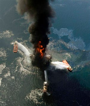The Deepwater Horizon oil rig burns April 21, 2010, after an explosion in the Gulf of Mexico, off the southeast tip of Louisiana.