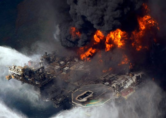 The Deepwater Horizon oil rig burns in the Gulf of Mexico on April 21, 2010.