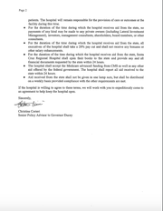 April 14, 2020 Letter from Governor Doug Ducey's Office to Santa Cruz Regional Hospital CEO Kelly Adams