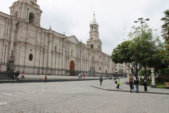 The plaza in Arequipa is usually teeming with people. Under lockdown, people were sparse.